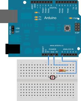 Arduino. Exemplo 5: Lectura de datos dunha LDR
