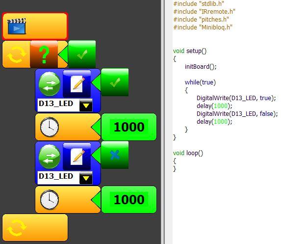 Arduino con Minibloq. Exemplo 1: Blink