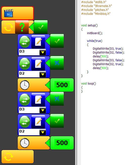 Arduino con Minibloq. Exemplo 2: Blink doble